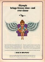 1967 Original Advertising' Vintage Olympic Airways Airlines Ever Closer 23AAA