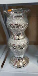40 CM Long STUNING Crushed Diamond Ceramic Silver Vase Diamante Bling Shiny