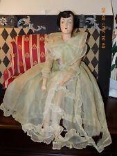 "Ant. Boudoir Doll 1920 ~ Original Clothing ~ Composition & Cloth ~ Rare 30"" !"