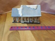 Americana Railroad Station & Post Office Porcelain House, Lighted