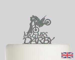 Motorbike Wedding Personalised Cake topper Acrylic Glitter cake Decoration 780