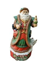 "A Merry Old Soul Christmas Music Box Porcelain Santa Musical Figurine 10.5""H"