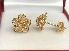 18k Solid Yellow Gold Stud Flower Earrings, Diamond Cut 2.23Grams