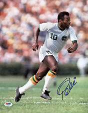 Pele Signed 11x14 Soccer Photo Cosmos White Jersey - Autographed PSA/DNA COA