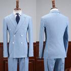Men's Blue Seersucker Suits Double-breasted Leisure Summer Beach Tuxedos 2 Piece