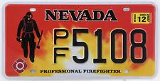 Plaque d'immatriculation américaine Pompiers NEVADA Professional Firefighter