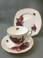 Vintage Queen Anne China Trio Red Roses