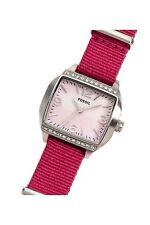 Fossil Damenuhr Edelstahl Textilband Pink Analog Zirkonia Rosa NEU! C141003-2