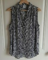 Cabi Womens Sleeveless Blue Printed Popover Plaza Top Shirt Blouse Size Small