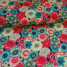 Baya brillante floreale tessuto di cotone larghezza 160cm per 1/2m