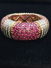 14k Rose Gold 12.92 CTTW Ruby, Sapphire and Diamond Eternity Ring UNIQUE