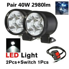 2x40W Motorcycle Work LED Spot Driving Fog Light Headlight Lamp w / Switch