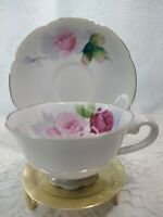 Vintage Nasco handpainted  Pink Flowers  tea Cup and Saucer Made in Japon