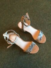 Gap Ladies Block Heeled Sandal In Snake Print Size 7