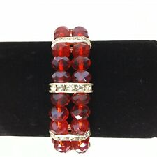 Red Crystal Glass Rhinestone Bracelet Silver Bar Women's Stretch