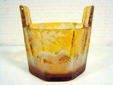 Gobelet Octogonale en Cristal de Bohème Décor Gravé de Chasse, H - 7 cm