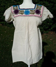 Maya Mexican Blouse Top Shirt Embroidered Flowers Chiapas Off-White Medium 317