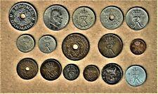 Danmark, 16 coin lot w/ 1907, 1910 and up; 5 Krone - 1 Ore at Fine thru A.U. +