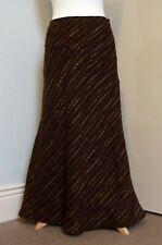 "Per Una Vintage Style Wool Blend Chocolate Brown Panelled Maxi Skirt UK 10r 36""l"