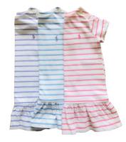 Ralph Lauren Baby Girl Toddler Smart Striped Tennis Dress Embroidered Logo 3-24m