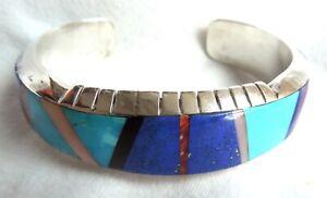 LYNOL YELLOWHORSE Multi-Stone BRACELET *Navajo* 56.4 Grams Sterling Inlay*