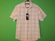 Perry Ellis Mens Size S Small Plaid Sandbar Short Slv Button Front Shirt NEW