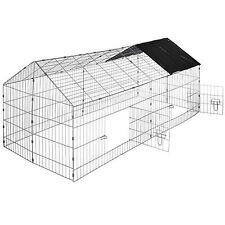 Rabbit enclosure run cage pet hutch outdoor playpen metal secure sunshade black