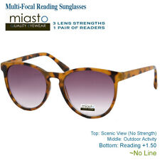 MIASTO MULTI-FOCAL COMPUTER READER READING SUN GLASSES+1.50 BROWN~NO LINE LARGE