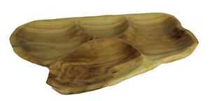 Zeckos Natural Fir Tree Root 4-Section Snack Serving Tray