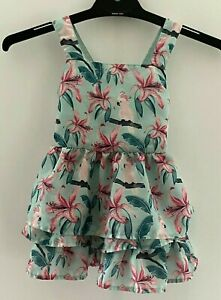 Girls size 1 blue with Pink galahs and flowers TUTUS & Tambourines summer dress