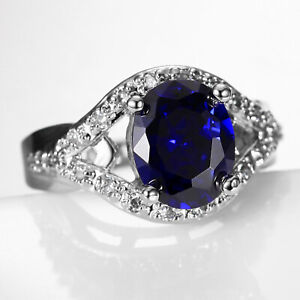 Natural 3.45CT Sapphire  14K White Gold  Ring  CM143