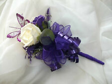 beautiful purple and ivory flowergirl / bridesmaid butterfly wand