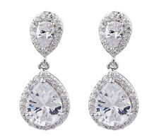 CLIP ON EARRINGS - silver plated drop earring CZ crystals & stones - Martha