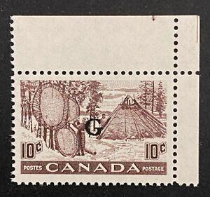 "Canadian Stamp, Scott O26 10c Fur-Drying Skins ""G"" XF  M/NH. Fresh."