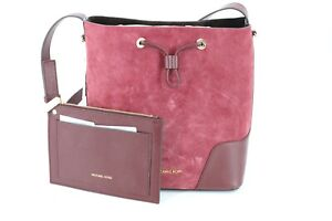 Michael Kors Cary Medium Bucket Bag Purse Maroon Oxblood Red Suede Leather