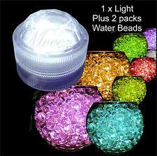 1 LED WATERPROOF TEA LIGHT + 2 PACKS WATER BEADS CRYSTAL BIO SOIL GEL BALL DECOR