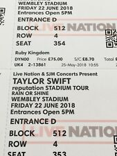 Two Taylor Swift concert tickets,  On 22 June 2018, at Wembley Stadium