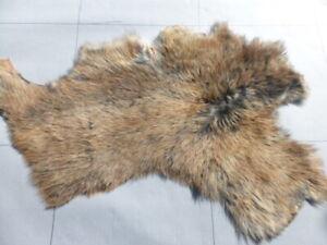 sheepskin leather hide fur Tri-Tipped Brown/Black/White Toscana long silky hair