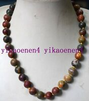 8 mm Jaspe multicolor de Picasso Natural AAA redonda granos collar 18/""