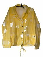 Chicos Womens Button Up Shirt Yellow Long Sleeve Snap Drawstring Pockets Size 2