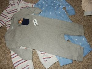 Set of 3 NWT 3-6M OLD NAVY Boys Hoodie Hooded Jumpers & Knit Rompers Outfits