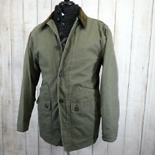 ORVIS Heritage Army Green Canvas Field Coat Barn Jacket Med 100% Cotton Quilted