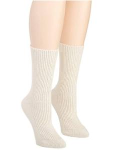 Cottonique Women's Latex Spandex Elastic Free Organic Cotton Socks Natural  XL