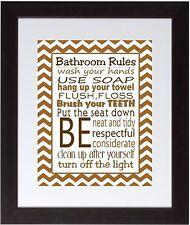 Brown Chevron Bathroom Rules Wall Art Print poster Family Rules