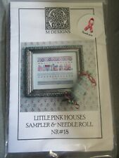 Little Pink Houses Counted Cross Stitch Sampler & Needle Roll Chart And Floss