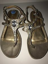 KENNETH COLE REACTION Open-Toe Buckle Sandals GOLD/CLEAR RHINESTONE 6.5M NEW
