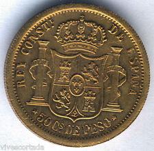 Filipinas Alfonso XII 50 Centavos 1880 Manila @ PRUEBA laton @ EXTRAORDINARIA @