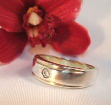 Moderner Ring 925 Silber mit weißen Stein Fingerring / am 484