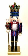 Nutcracker Sequins Blue Red Holiday Time Hand Painted Original Box 12 inches