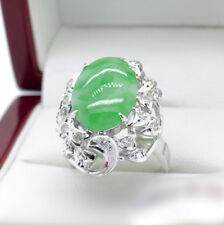 Recent Jade and Diamond Cocktail ring in White Gold, 5.93 tcw